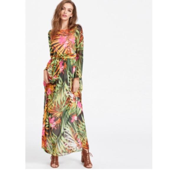 510d0d9ca3 SheIn Tropical Print Self Tie Chiffon Maxi Dress. M_5a8605b850687c0e9211d5aa
